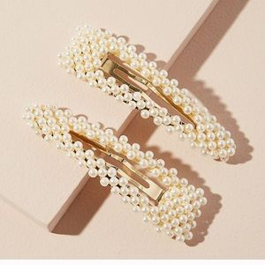 Anthropologie Faux Pearl-Embellished Hair Clips